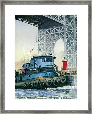 Tugboat And The Little Red Lighthouse Framed Print