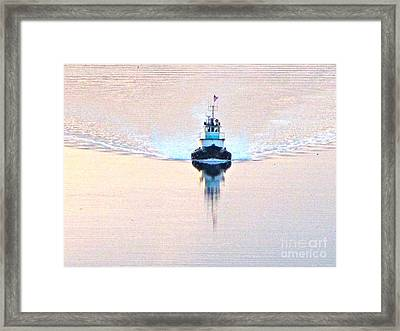 Tugboat At Dawn Framed Print