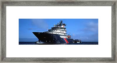 Tugboat In The Ocean, Abeille Bourbon Framed Print by Panoramic Images
