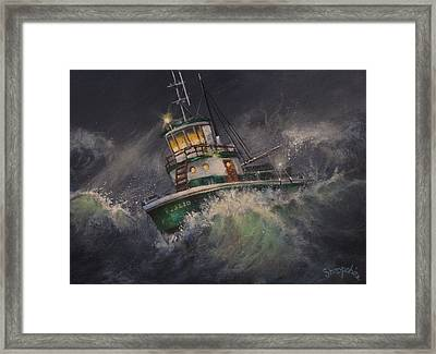 Tugboat In Trouble Framed Print by Tom Shropshire