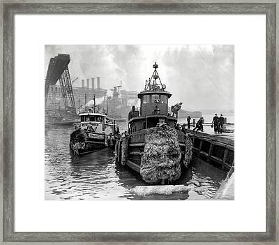 Tugboat Winter  1946 Framed Print by Daniel Hagerman