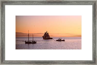 Tugboat With A Trawler And A Tall Ship Framed Print