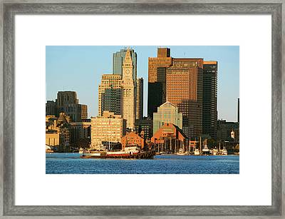 Tugboat With Boston Harbor Framed Print