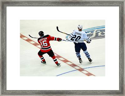 Tugging On The Jersey Framed Print by James Kirkikis