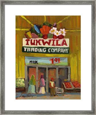 Tukwila Trading Co. Framed Print by Diane McClary