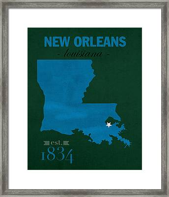 Tulane University Green Wave New Orleans Louisiana College Town State Map Poster Series No 114 Framed Print by Design Turnpike