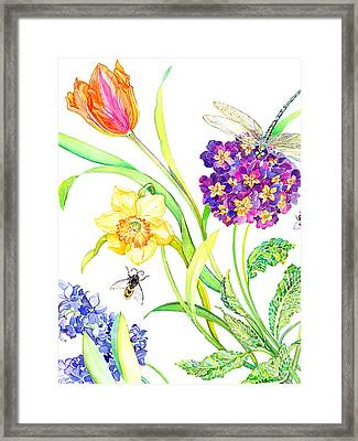 Tulip And Dragonfly Framed Print by Kimberly McSparran