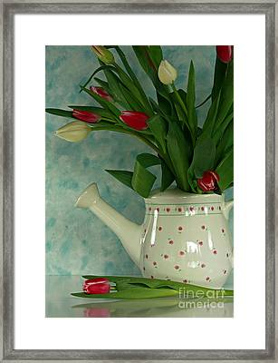 Tulip Bouquet In Watering Can Framed Print by Inspired Nature Photography Fine Art Photography