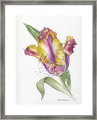 Framed Print featuring the painting Tulip -  Elena Yakubovich by Elena Yakubovich