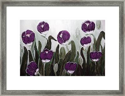 Tulip Festival Art Print Purple Tulips From Original Abstract By Penny Hunt Framed Print