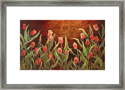 Framed Print featuring the painting Tulip Garden by Vic  Mastis