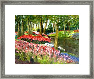 Framed Print featuring the painting Tulip Gardens by Lori Ippolito