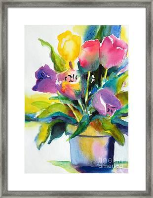 Tulip Pot Framed Print by Kathy Braud