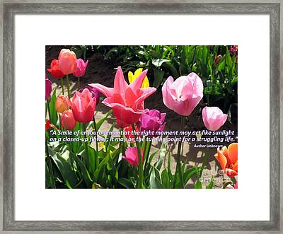 Tulip Smile Quote Framed Print by Marlene Rose Besso