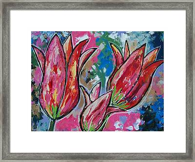 Tulip Trio Framed Print by Krista Ouellette