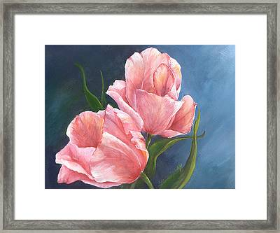 Framed Print featuring the painting Tulip Waltz by Sherry Shipley