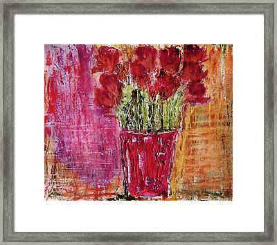Framed Print featuring the painting Tulipes Rouges by Linde Townsend