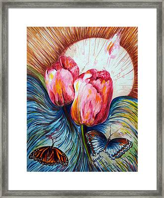 Tulips And Butterflies Framed Print by Harsh Malik