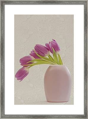 Tulips And Lace Framed Print by Sandra Foster