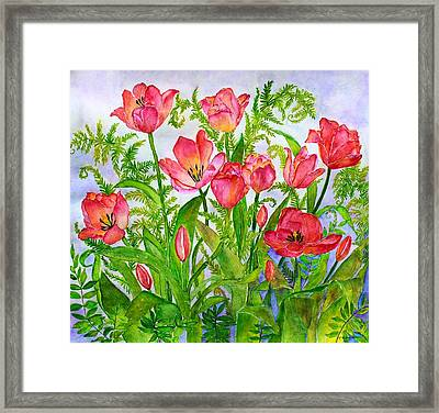 Tulips And Lacy Ferns Framed Print by Janet Immordino