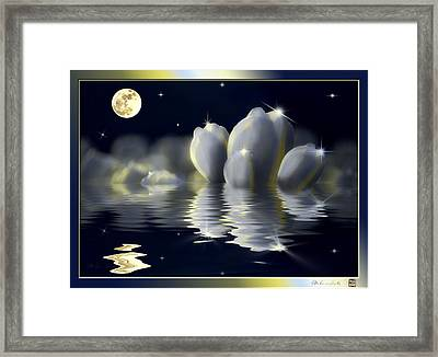 Tulips And Moon Reflection Framed Print