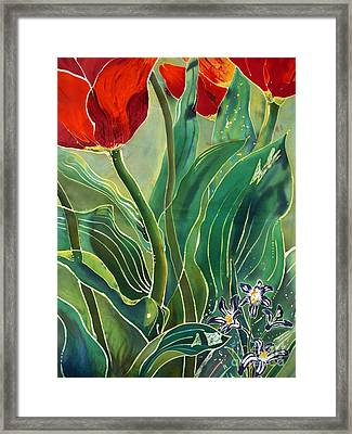 Tulips And Pushkinia Detail Framed Print by Anna Lisa Yoder