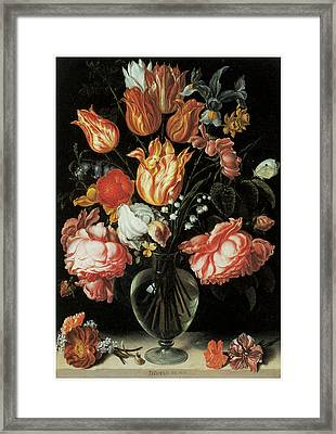 Tulips And Roses In A Glass Vase Framed Print by Jacques De Gheyn The Younger