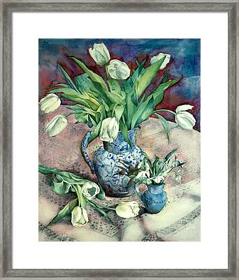 Tulips And Snowdrops Framed Print by Julia Rowntree