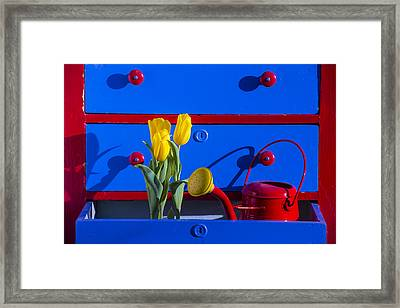 Tulips And Watering Can  Framed Print by Garry Gay