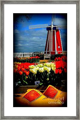 Tulips And Windmill Framed Print by Susan Garren