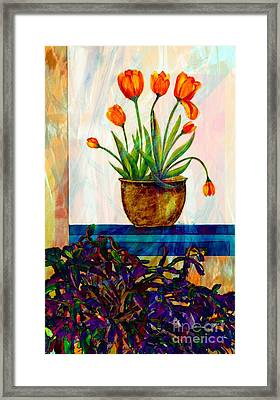 Tulips - Cactus - Still Life  Abstract Framed Print by Barbara Griffin