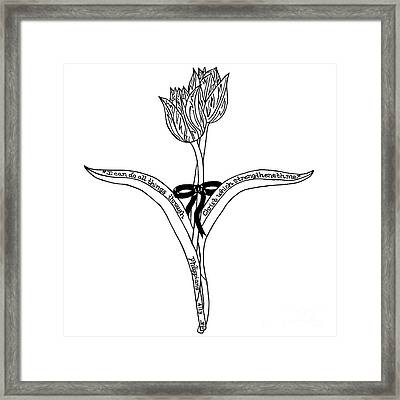 Tulips Cross Framed Print by Leigh Eldred