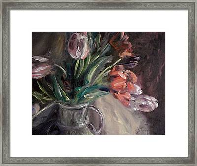 Framed Print featuring the painting Tulips by Donna Tuten