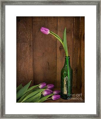 Tulips Green Bottle Framed Print