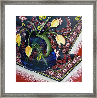Framed Print featuring the painting Tulips by Helen Syron