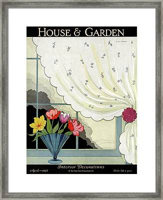 Tulips In A Fan-shaped Vase On A Window Sill Framed Print by H. George Brandt