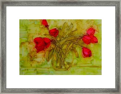 Tulips In A Glass Vase Framed Print by Patricia Awapara