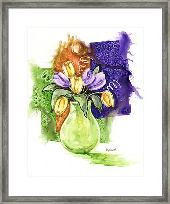 Tulips In A Green Vase Framed Print by Marsha Elliott