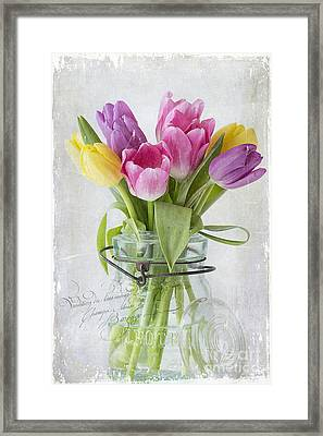 Tulips In A Jar Framed Print