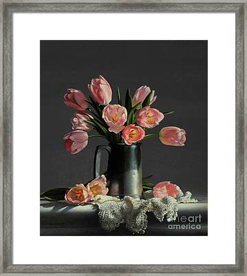 Tulips In A Pewter Mug Framed Print by Larry Preston