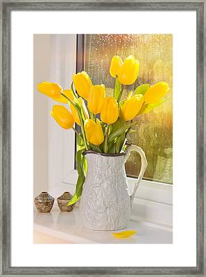 Tulips In Antique Jug Framed Print by Amanda Elwell