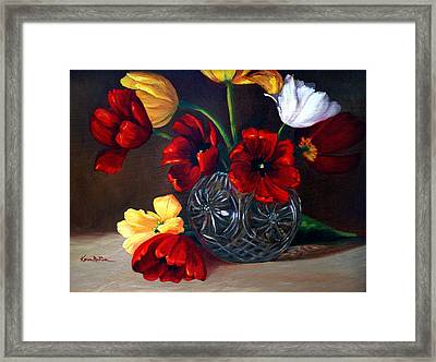 Tulips In Crystal Framed Print by Karen Mattson