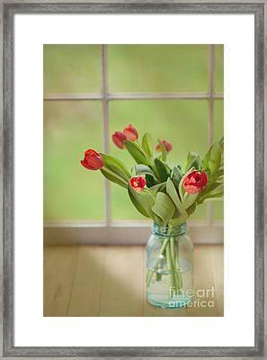 Tulips In Mason Jar Framed Print
