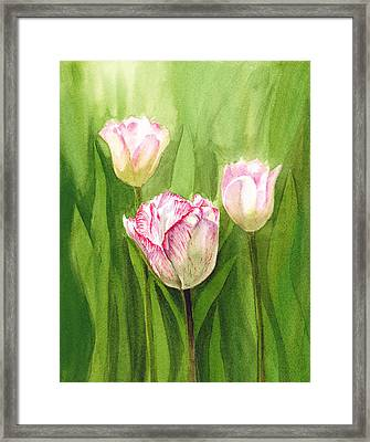 Tulips In The Fog Framed Print by Irina Sztukowski