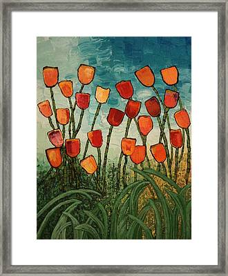 Framed Print featuring the painting Tulips by Linda Bailey