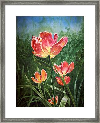 Tulips On Fire Framed Print by Irina Sztukowski