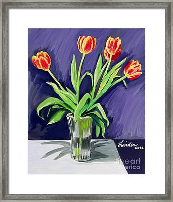 Tulips On The Table Framed Print