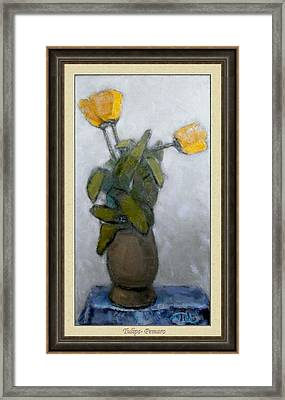 Framed Print featuring the painting Tulips by Pemaro