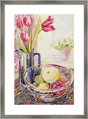 Tulips With Fruit In A Glass Bowl  Framed Print by Joan Thewsey