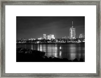 Tulsa In Black And White - University Tower View Framed Print by Gregory Ballos
